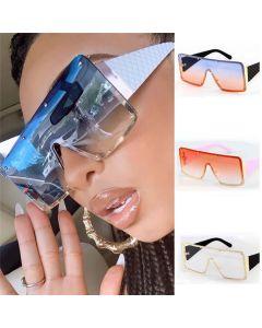 Oversized square mono lens futuristic shield sunglasses