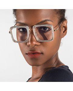Diamond Decorated Square Glasses Retro Luxury Frame