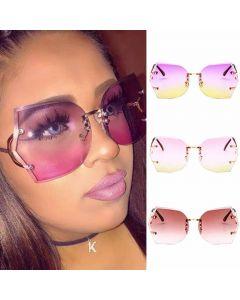 Rimless Faceted Lens Oversized Gradient Sunglasses