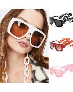 Wrap Around Frame Mod Oversized Sunglasses w/ Chains
