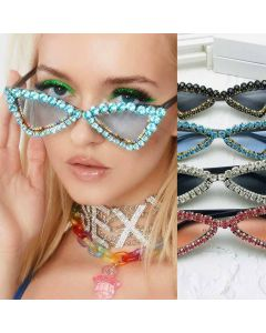 Shiny Frame Icy Glitz Rhinestones Bling Sunglasses
