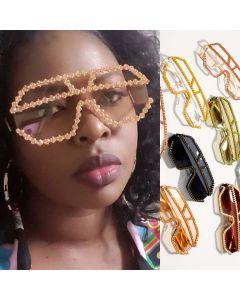 Bling Mono Lens Sunglasses Wrap Around Side Shades