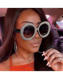Luxury Oversize Sunglasses Bling Rhinestone Round Frame