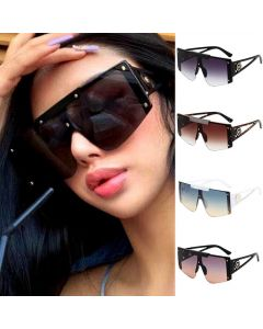 Luxury flat top one piece lens oversized sunglasses