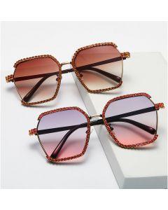 Rimless Hexagon Shaped Bling Gradient Sunglasses