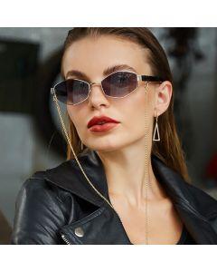 Retro Hexagon Ladies Polygon Sunglasses w/ Neck Chains