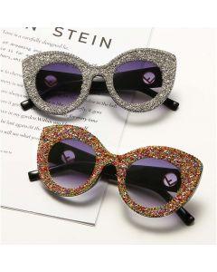 Cat eye shades gold logo bling women sunglasses