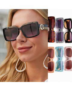 Retro Floral Gold Tone Hinge Rectangular Sunglasses