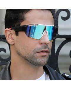 Mirrored Mono Lens Wrap Around Sport Sunglasses