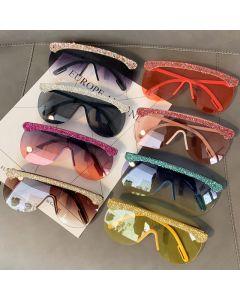 Mono Lens Oversized Bling Diamante Sunglasses