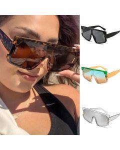 Futuristic Shield One Piece Lens Flat Top Sunglasses