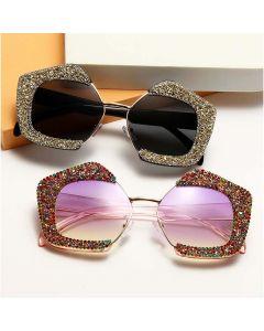 Ladies Diamonds Frame Pentagon Shaped Bling Sunglasses