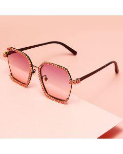 Rhinestones Hexagon Shaped Bling Gradient Sunglasses