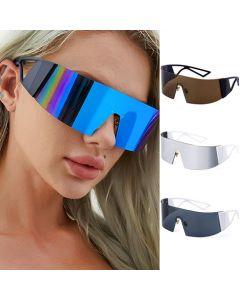 Futuristic googles one piece lens shield sunglasses