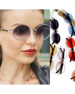 Vintage steampunk flat lens alloy frame oval sunglasses