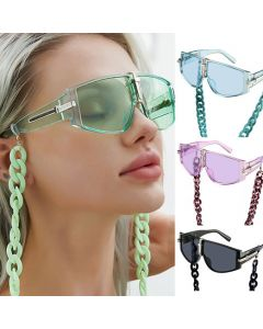 Wrap Around Goggles Shield Sunglasses w/ Chains