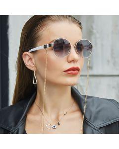 Ladies Vintage Retro Round Sunglasses w/ Neck Chains