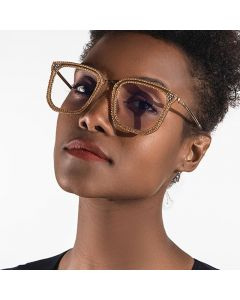 Women Rhinestone Frame Oversize Bling Glasses