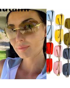 Leopard head metal temple curved lens rimless shades