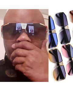 Gold Tone Nose Bridge Half Frame Aviator Sunglasses