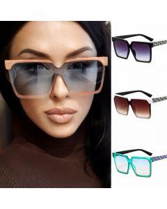 Square Retro Two Tone Frame Women Sunglasses