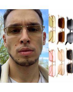 Light metal frame rectangular vintage sunglasses