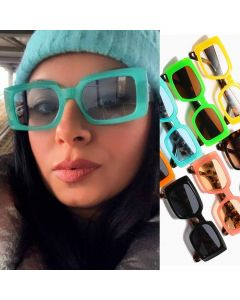 Cute Acetate Multicolored Frame Rectangle Sunglasses