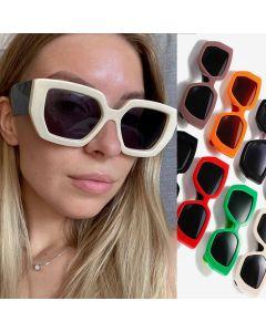 Cute Two Tone Bold Frame Modern Sunglasses