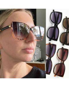 Women Cat Eye Striped Vintage Fashion Square Sunglasses