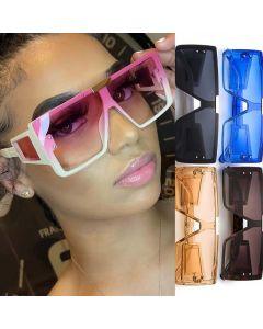 Oversize Square Frame Sunglasses Mono Lens Big Shades
