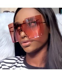 Oversize Square Shield Sunglasses Luxury Rimless Shades