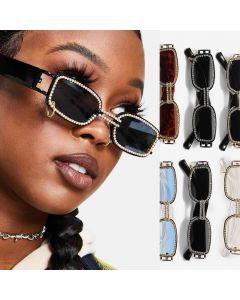 Vintage Steampunk Rectangular Rhinestone Sunglasses