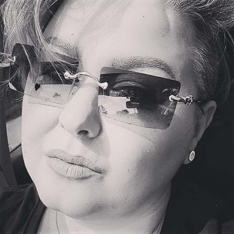 Rimless Lens Metal Temples Rectangle Retro Sunglasses