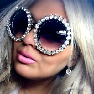 Women Oversized Round Sunglasses Retro Bling Frame