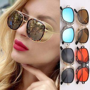 Steam Punk Sunglasses Flat Top Frame Mesh Side Shields