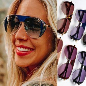 Bling aviator stones side shields steampunk sunglasses