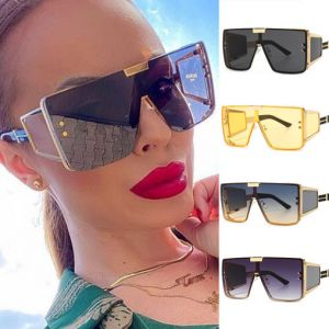 Oversized Flat Top Square Mono Lens Shield Sunglasses