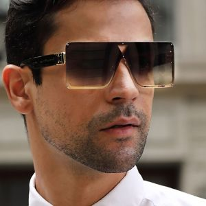 Bold statement square oversized gradient sunglasses