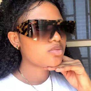 Flat Top Frame Mono Lens Oversized Shield Sunglasses