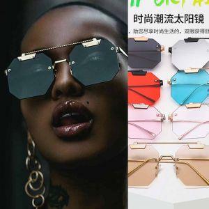 Octagon Rimless Lens Twisted Top Bar Punk Sunglasses