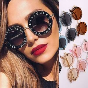 Retro round sunglasses w/ cute bees & letter print