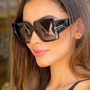 T logo square contemporary oversized sleek sunglasses