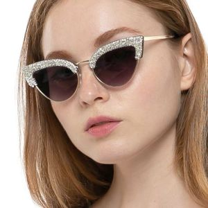 Luxury Diamond Frame Bling Cat Eye Sunglasses