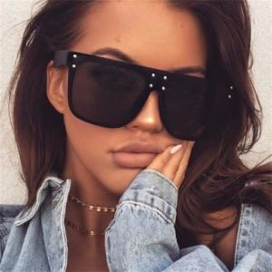 Flat Top Mirrored Sunglasses Oversize Reflective Shades