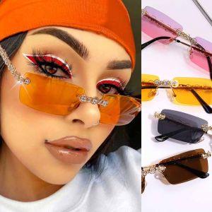 Rectangle Crystal Vintage Rimless Diamond Sunglasses