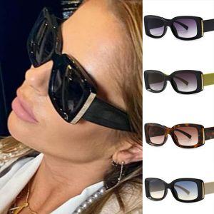 Women Feminine Luxury Big Frame Rectangle Sunglasses