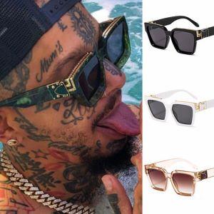Gold stripes luxury celebrity trendy square sunglasses