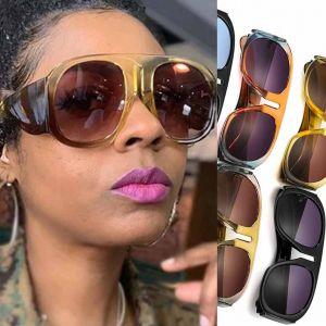 Flat Top Aviator Sunglasses w/ Big Frame & Bold Legs