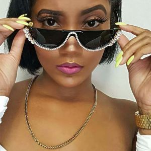 Bling Half Frame Girls Sexy Cat Eye Crystal Sunglasses