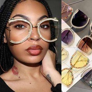 Glittery Rhinestones Retro Oversized Bling Sunglasses